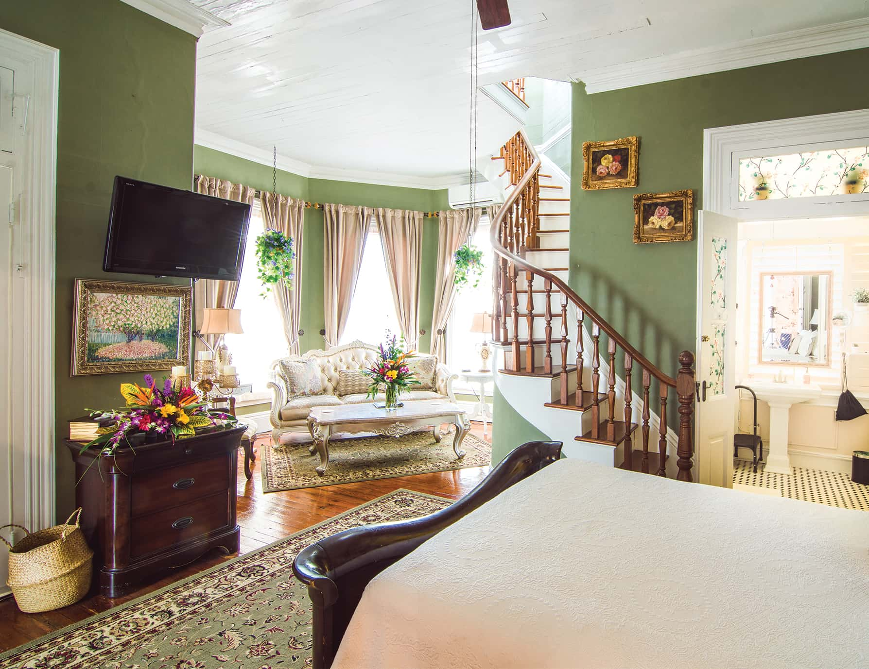Turret Room bed at our Key West luxury inn