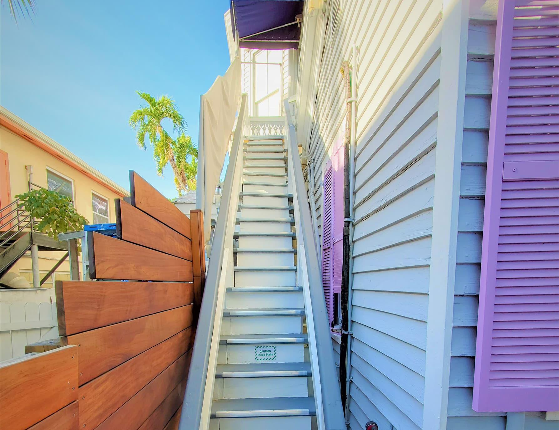 Sun Room private entrance exterior staircase