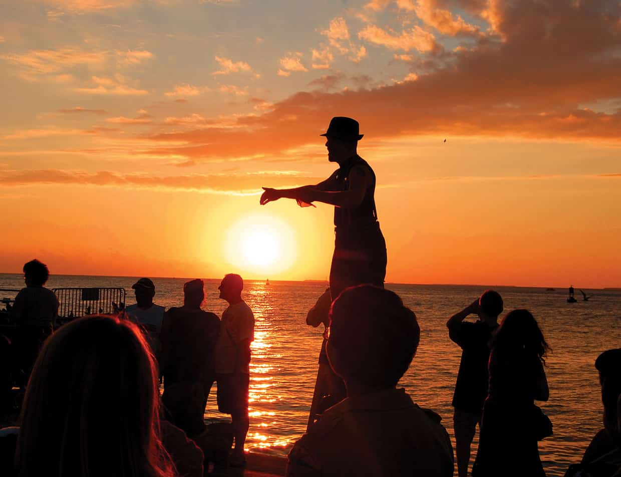 Street performer at Mallory Square - Key West travel guide