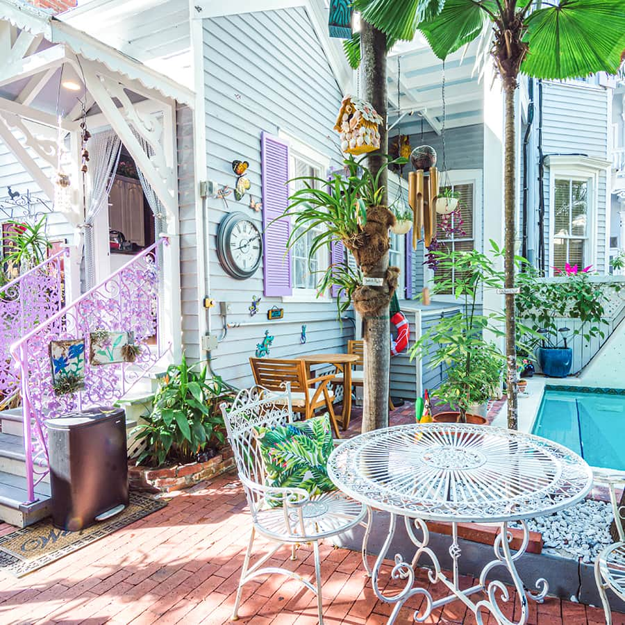 back patio at our historic Key West inn