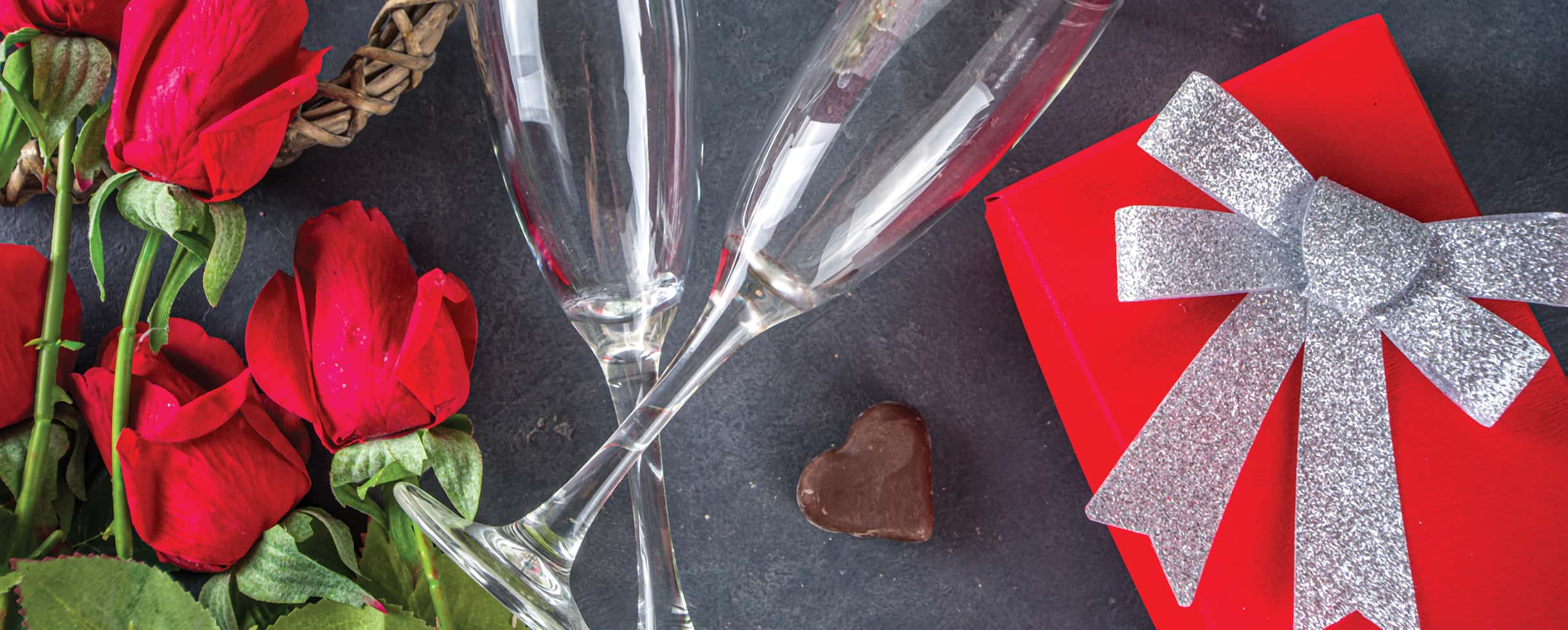 Champagne, flowers and chocolates